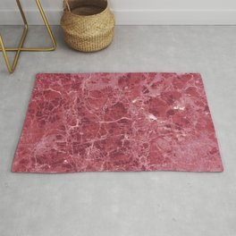 Colorful coral red marble Rug
