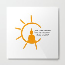 Buddha silhouette and quote inside a bright sun. Metal Print