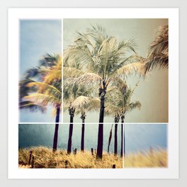 Beach Palms collage Art Print