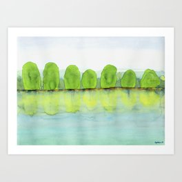 Trees Refecting On The Water Art Print