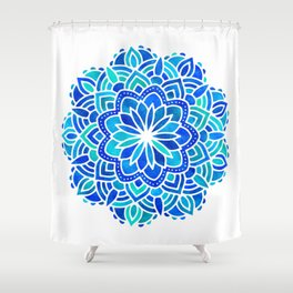 Mandala Iridescent Blue Green Shower Curtain