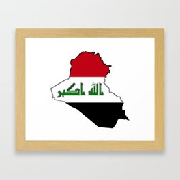 Iraq Map with Iraqi Flag Framed Art Print