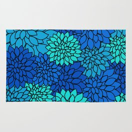 Floral Pattern - Shades of Blue Flower Patterns Rug