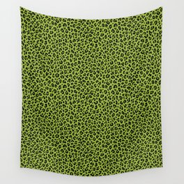 PSYCHOBILLY GREEN LEOPARD PRINT – Lime Green | Collection : Leopard spots – Punk Rock Animal Prints. Wall Tapestry