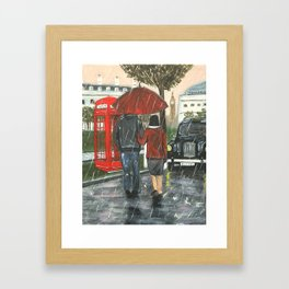 Catching a Cab in the Rain Framed Art Print