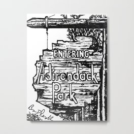 'Home' Original Adirondack Art Drawing by Bryn Reynolds - Adirondack Mountains Decor Metal Print