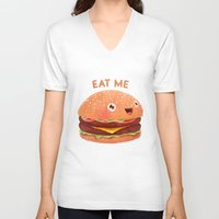 burger V-neck T-shirts featuring Burger by Lime