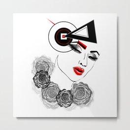 Modern Woman Face Illustration Metal Print
