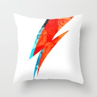 bowie Throw Pillows featuring Bowie by AtomicVisual