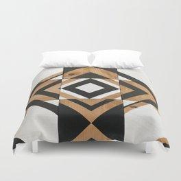 Modern Wood Art, Black and White Chevron Pattern Duvet Cover