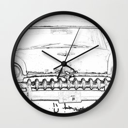 Cool Vintage car sketch art design Wall Clock