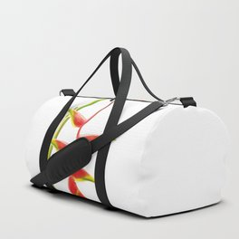 Helionias Tropical Flower white Background Duffle Bag