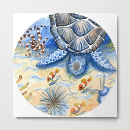 Sea Turtle - Bottom of the Sea Watercolor Painting Metal Print