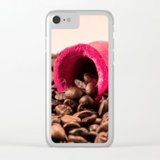 Red horn on coffee 2 Clear iPhone Case