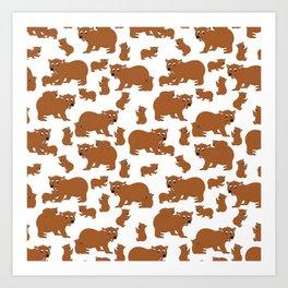 Brown Bear Neck Gator Brown Bears Mama Bear Baby Bear Art Print