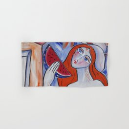 Portrait of a burlesque girl with watermelon painting by Ksavera Hand & Bath Towel