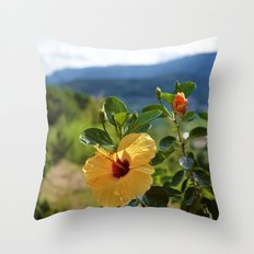 MOUNTAIN LANDSCAPE WITH GIBISCUS Throw Pillow