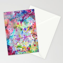 Abstract Bright Watercolor Paint Splatters Pattern Stationery Cards