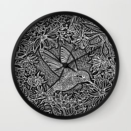 Hummingbird In Flowery Wreath Linocut Wall Clock