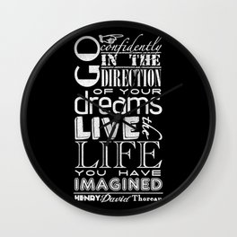 Henry David Thoreau Dreams Quote Wall Clock
