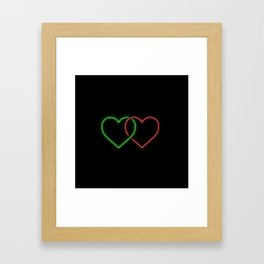 Intertwined Neon Love Hearts Green and Red Framed Art Print