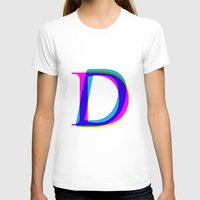 letter T-shirts featuring D Letter by Dizzy Moments