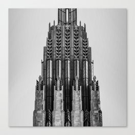 Tulsa Oklahoma Boston Avenue United Methodist Church Tower Architecture 1x1 - Monochrome Canvas Print