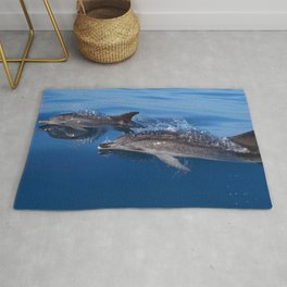 Mother and baby spotted dolphin Rug