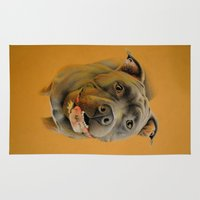 pit bull Area & Throw Rugs featuring American pit bull terrier by Frederica Morgan