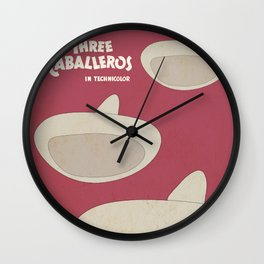 The Three Caballeros, old animated movie poster, minimal playbill, vintage musical, latin America Wall Clock