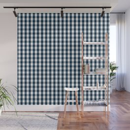 Silent Night Blue Christmas Large Gingham Check Wall Mural