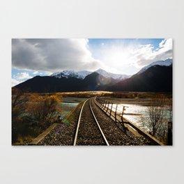 Railway over Waimakariri River Canvas Print