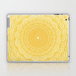 Spiral Mandala (Yellow Golden) Curve Round Rainbow Pattern Unique Minimalistic Vintage Zentangle Laptop & iPad Skin