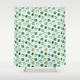 House Cats - Cartoon Pattern Green Shower Curtain