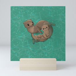 Otter love Mini Art Print