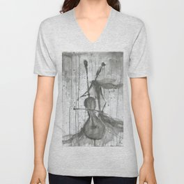 """CELLO. A SERIES OF WORKS """"MUSIC OF THE RAIN"""" Unisex V-Neck"""