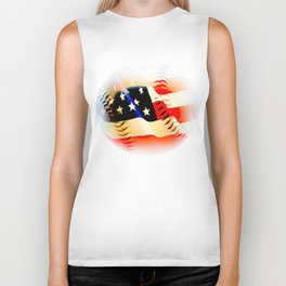 Baseball And Americn Flag Painting By Annie Zeno  Biker Tank