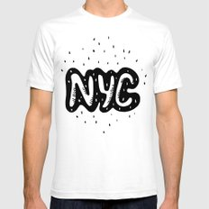 NYC lettering series: #1 SMALL Mens Fitted Tee White