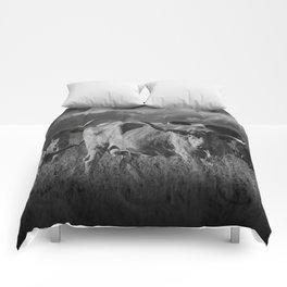 Texas Longhorn Steers under a Cloudy Sky in Black & White Comforters