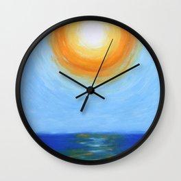 Haitian Sunrise coastal landscape painting by Joseph Stella Wall Clock