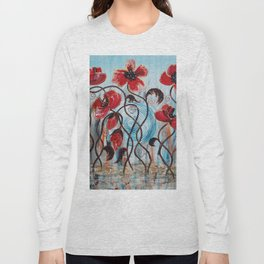 red Poppies in rain blue floral art flowers painting by Ksavera Long Sleeve T-shirt