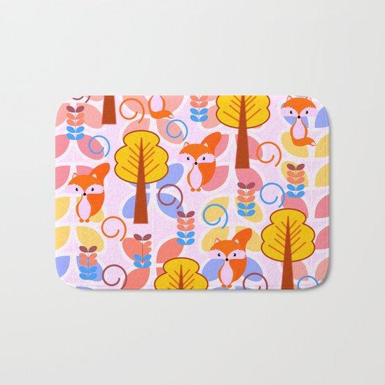 Cute foxes in a magical forest Bath Mat