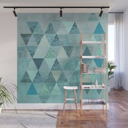 Glamorous Blue Glitter And Foil Triangles Wall Mural