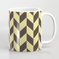 Pastel yellow and charcoal black chevron pattern Mug