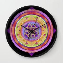 Fractured Phractal Neon Rainbow Colored Pencil Mandala Illustration by Imaginarium Creative Studios Wall Clock