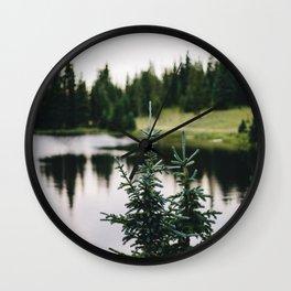 rocky mountain pine trees Wall Clock