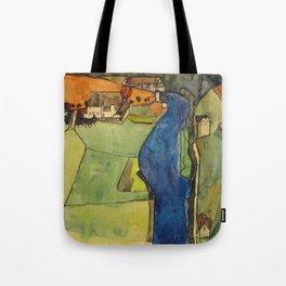 """Egon Schiele """"Stadt am blauen Fluss (Town on the blue river)"""" Tote Bag"""