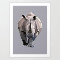 rhino Art Prints featuring Rhino by Liam Brazier