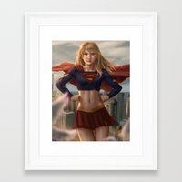 supergirl Framed Art Prints featuring Supergirl by Pat Ventura