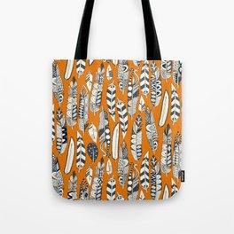 joyful feathers orange Tote Bag